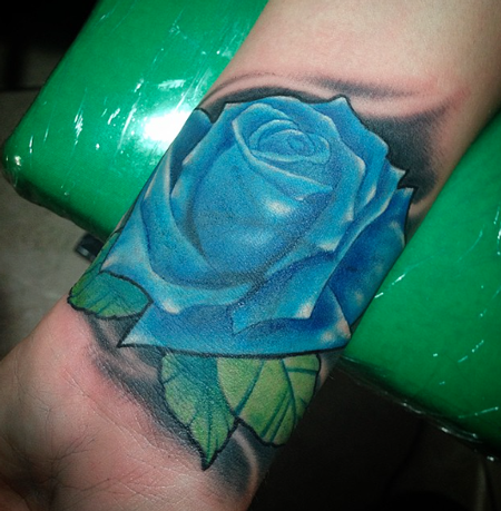 Tattoos - Blue Rose Color Tattoo - 108120