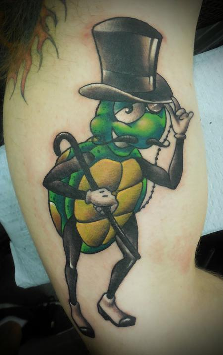 Tattoos - New School Gentleman Turtle. - 108121