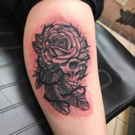 Skull/ rose/ feathers Tattoo Design Thumbnail