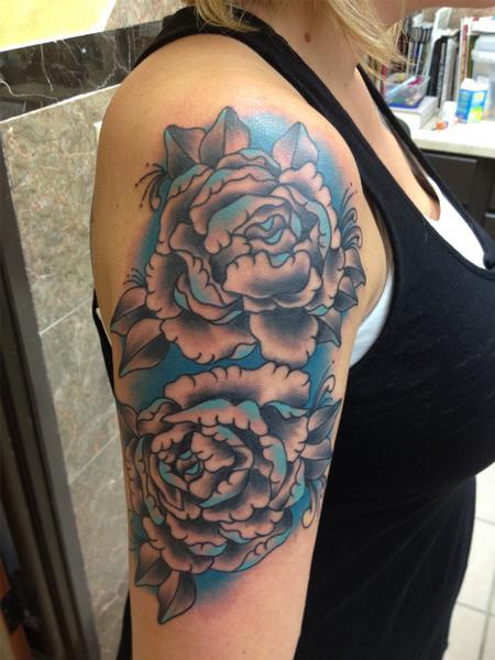 Tattoos - Rose Half Sleeve - 103744
