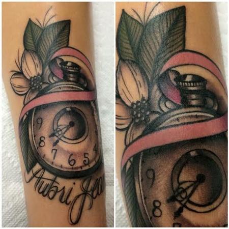 Traditional color pocket watch with banner tattoo. Frichard Adams Art Junkies Tattoo.  Tattoo Design