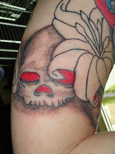 Tattoos - Skull and flowers tattoo - 57050