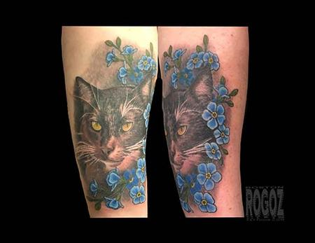 Cat with flowers Tattoo Design Thumbnail