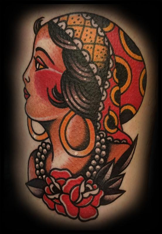 American Traditional Gypsy Head Tattoo Thumbnail