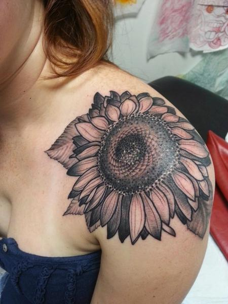 Tattoos - BLACK AND GREY SUNFLOWER TATTOO - 100453