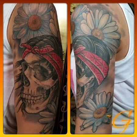Tattoos - custom color skull and flower tatttoo - 99084