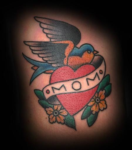 American Traditional Mom Heart Tattoo Design Thumbnail