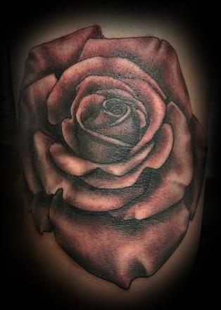 Tattoos - Black and Grey Rose - 137378
