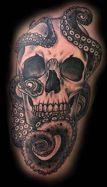 Black and Gray Skull and Tentacles Tattoo Design Thumbnail