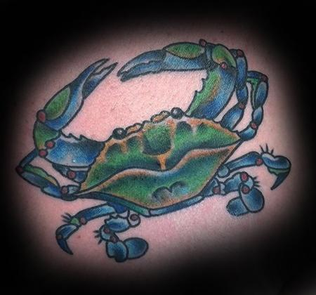 Tattoos - Blue Crab Tattoo on Chest - 137314