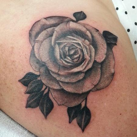 Tattoos - black and grey rose flower tattoo - 100443