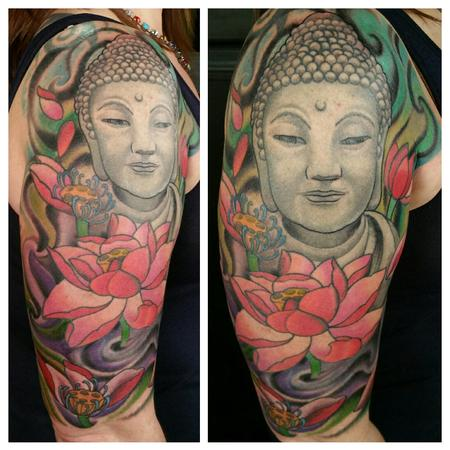 Tattoos - custom color Buddha and lotus tattoo done by Glenn Collins @ Broken lantern tattoo  - 101075