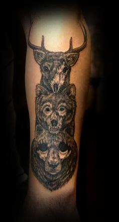 Skeleton Animal Totem Pole Tattoo Design Thumbnail