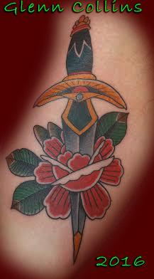 Tattoos - Classic Tattoo of a rose and dagger - 117262