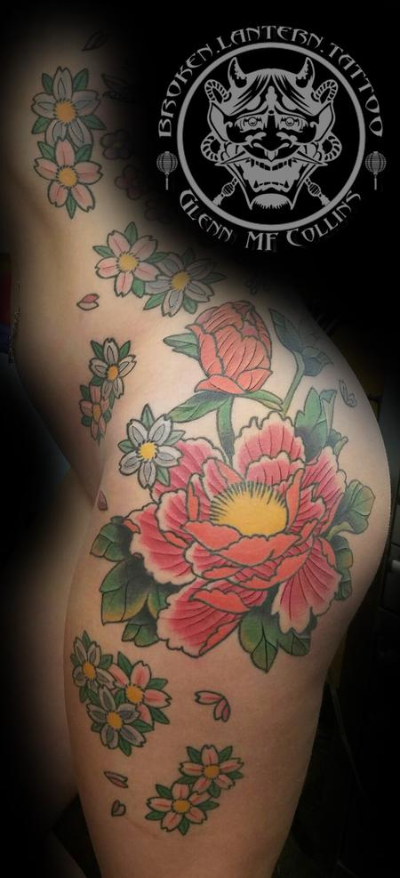 Tattoos - Peony(Botan) and Blossums - 125388