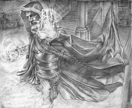 Cecil Porter - Alchemic Mastery, fantasy card art final pencils  by Cecil Porter