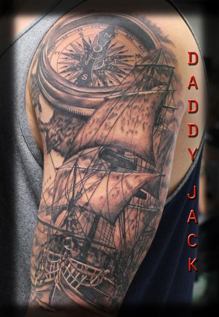 Tattoos - Black&grey_Ship_Compass_Daddy_Jack - 129067