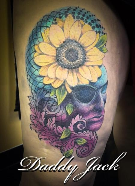 Daddy Jack - Sunflower and Face Memorial Tattoo