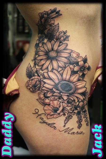 Tattoos - Floral Body Curve - 130454