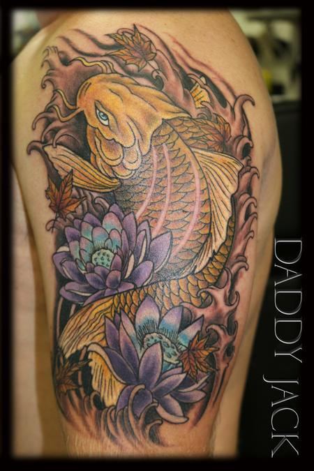 Tattoos - Realistic Koi Fish and Lotus Flowers - 130534