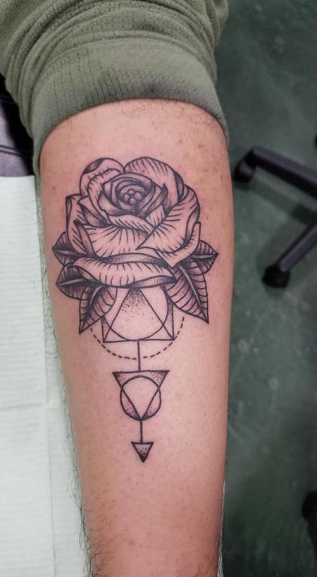 Tattoos - Rose and Geometric pattern - 136059