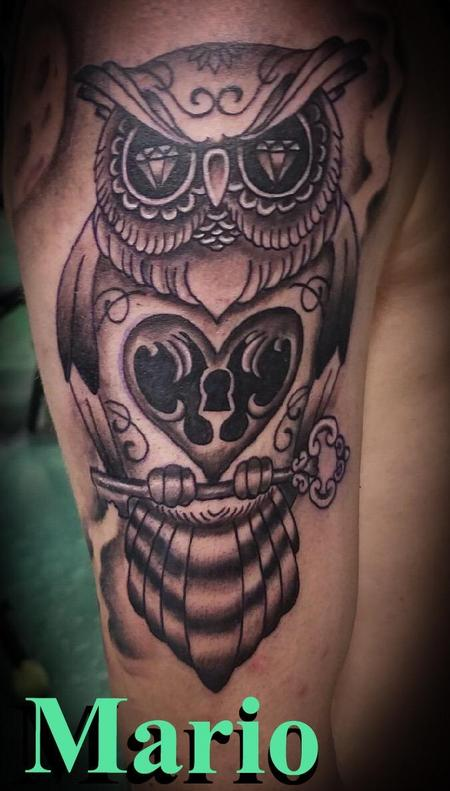 Tattoos - Black and Grey Owl - 137247