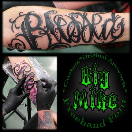 Tattoos - Blessed Script with Big Mike's Original Freehand Font - 131700