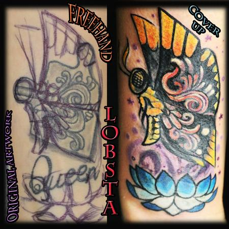 Tattoos - Original Custom Butterfly Cover-up - 131005