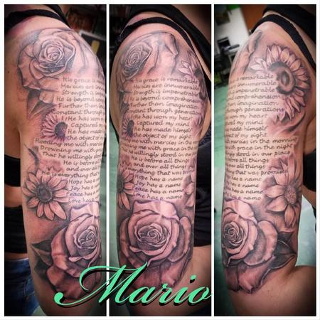 Tattoos - Flowers Around Script - 137770