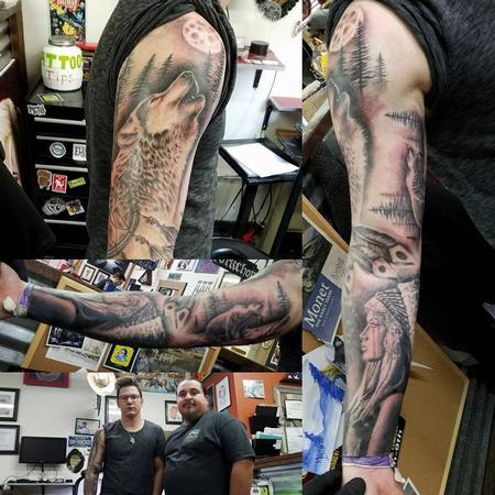 Tattoos - Native american wolf sleeve - 132515