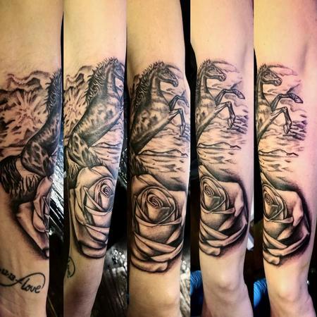 Mario Padilla - Black and grey stallion and rose