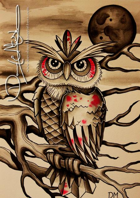 Tattoos - Owl Watercolor - 71858