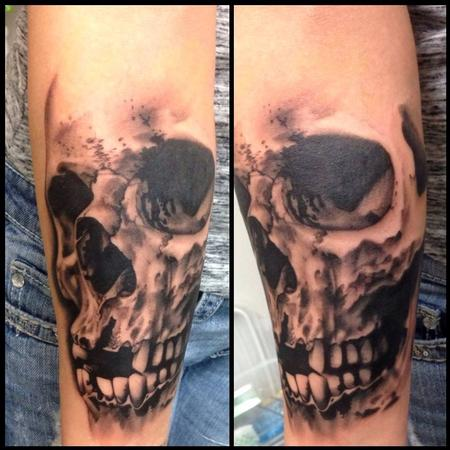 Tattoos - In-Progress Black an Gray Skull Tattoo - 82807