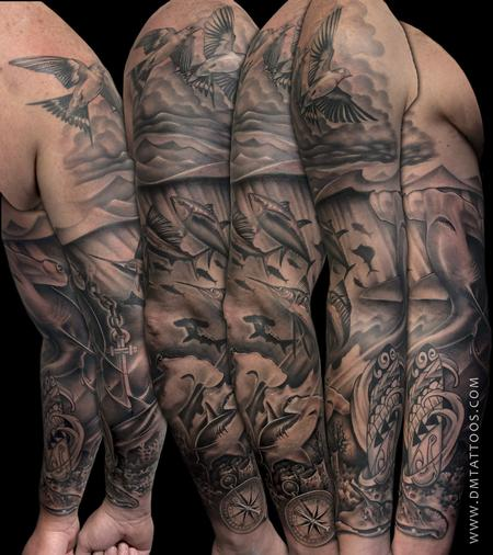 Tattoos - Underwater Sleeve Tattoo - 97603