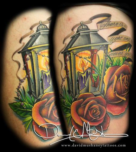 Tattoos - Lantern and Roses - 76616