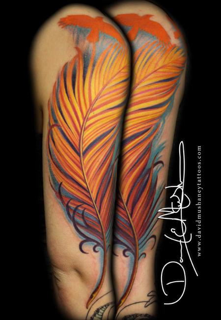 Tattoos - Color Half Sleeve - Feather and Birds - 75487