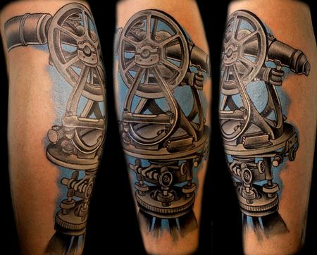 Tattoos - Black and Gray Calf Tattoo - 79883