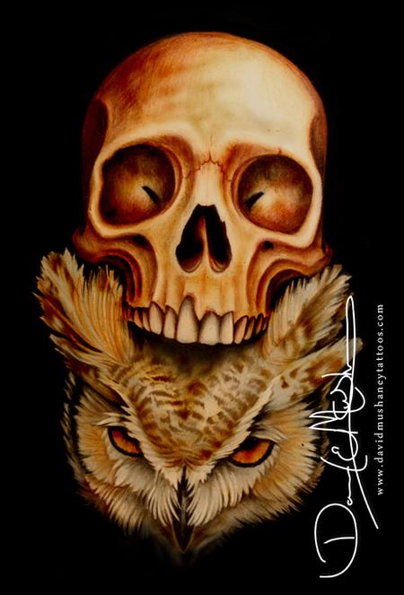 Tattoos - Owl and Skull Drawing - 69505
