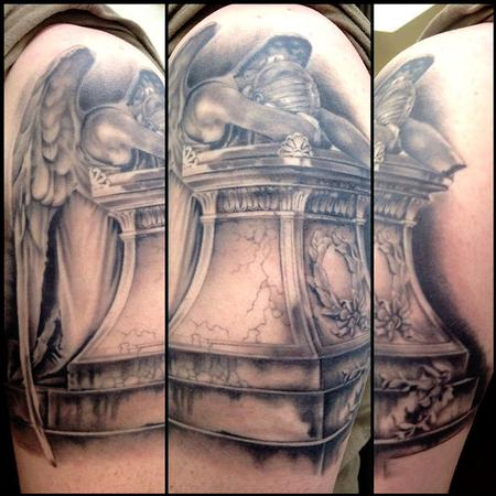 Tattoos - Black and Gray Statue Replica Tattoo - 79231