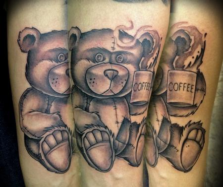 Tattoos - Black and Gray TeddyBear Memorial Tattoo - 80078