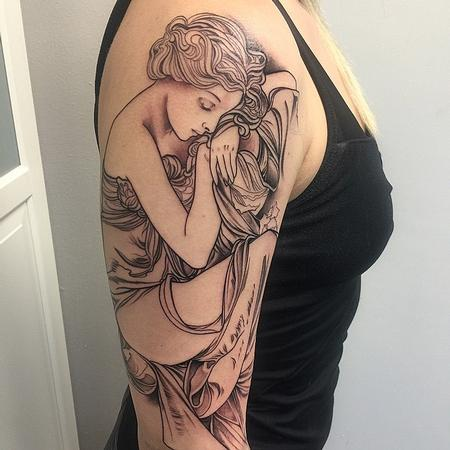 Tattoos - Mucha Inspired Half-Sleeve Tattoo - 104390