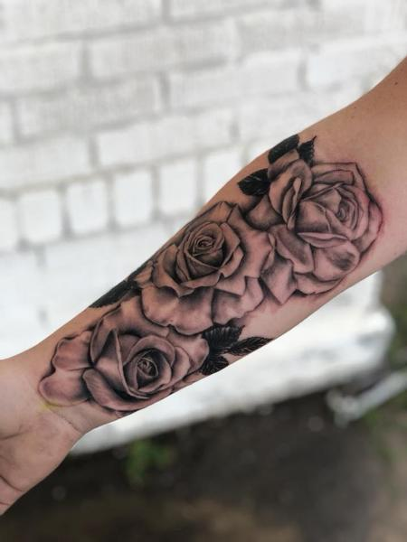 Tattoos - Black and grey roses - 135041