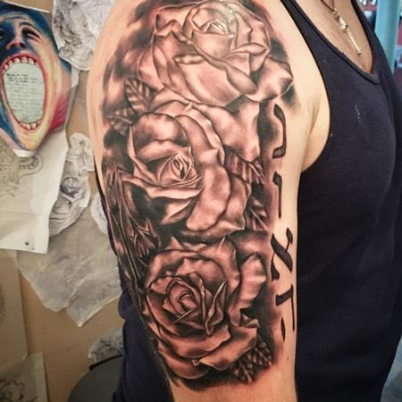 Tattoos - Black and grey roses - 116134