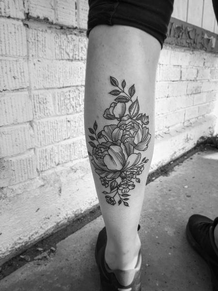 Tattoos - Pen and Ink Peonies - 135034