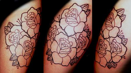 Tattoos - Roses line work tattoo - 82854