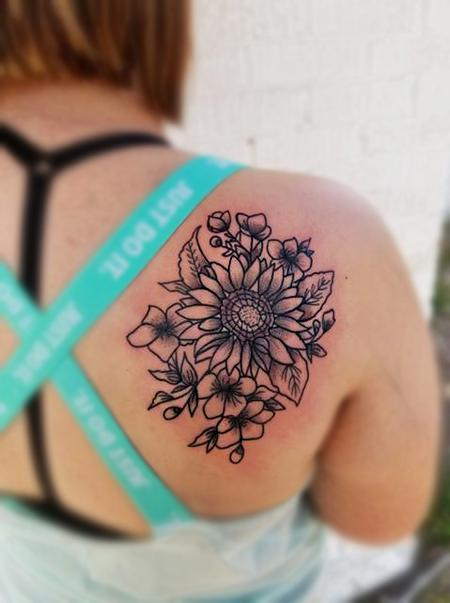 Tattoos - Dot work Sunflower - 134506