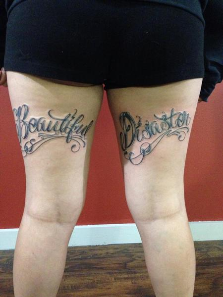 Tattoos - Beautiful disaster lettering - 108823
