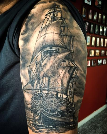 Tattoos - Black and grey ship - 117297