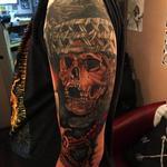Photorealistic headhunter skull Tattoo Design Thumbnail