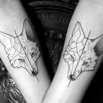 Blackwork Wolves  Tattoo Design Thumbnail